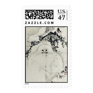 Snowman under a Pine by Taki, Katei Ukiyoe Postage Stamp