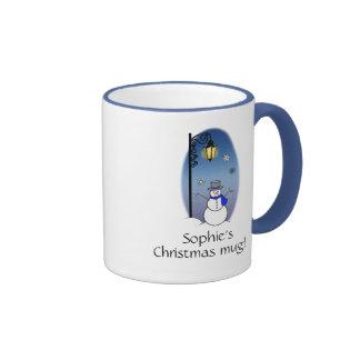 Snowman under a Streetlamp Name Customizable Ringer Mug