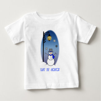 Snowman under Lamppost Let it Snow Baby T-Shirt