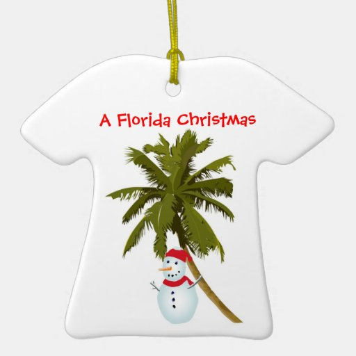 Snowman under Palm Tree Christmas ornament