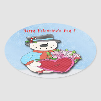 Snowman Valentine's Day Oval Stickers