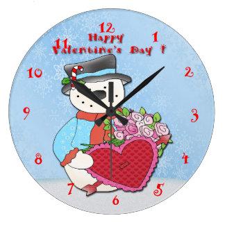 Snowman Valentine's Day Round Wall Clock