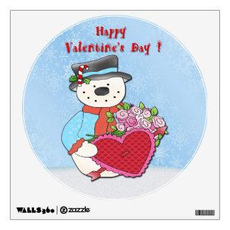 Snowman Valentine's Day Round Wall Decal