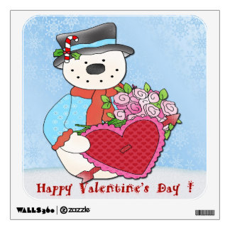 Snowman Valentine's Day Square Wall Decal