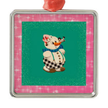 Snowman Vintage Christmas Metal Ornament
