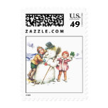 Snowman Vintage Christmas Postage Stamp
