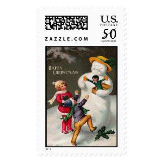Snowman Vintage Christmas Stamps