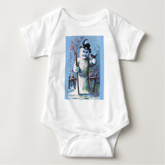 Snowman - vintage-santa-christmas-post-cards-0063 baby bodysuit