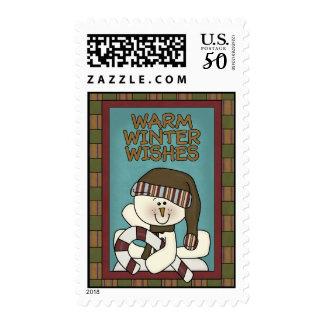Snowman Warm Winter Wishes Postage