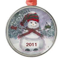 Snowman watercolor art metal ornament