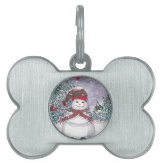 Snowman Watercolor art Pet ID Tags