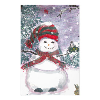 Snowman Watercolor art Stationery Paper
