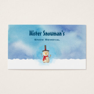 Snowman Waving And Smiling In Cold Winter Snow Business Card