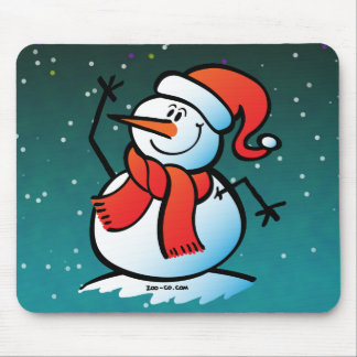 Snowman Waving Hello Mousepads
