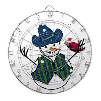 Snowman Wearing Cowboy Hat with Snow Bird Dartboard With Darts