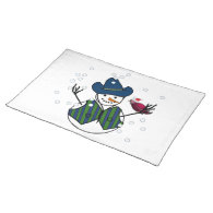 Snowman Wearing Cowboy Hat with Snow Bird Placemat