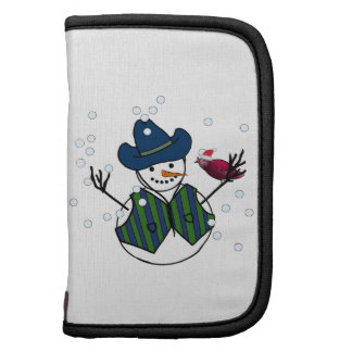 Snowman Wearing Cowboy Hat with Snow Bird Planners