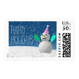 Snowman Wearing Green Mittens Postage