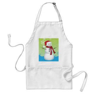 Snowman wearing Santa hat Adult Apron