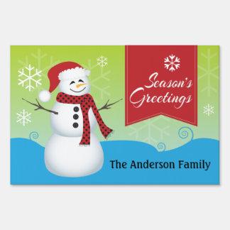 Snowman wearing Santa hat Season's Greetings Yard Sign