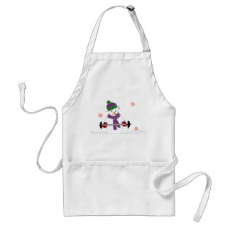 Snowman Weight Lifting Adult Apron