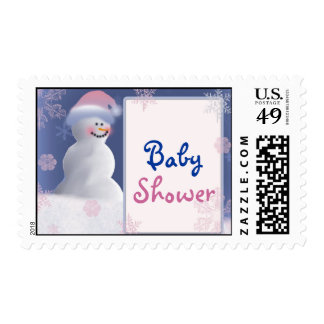 Snowman winter baby shower postage