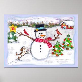Snowman Winter Christmas Poster Print