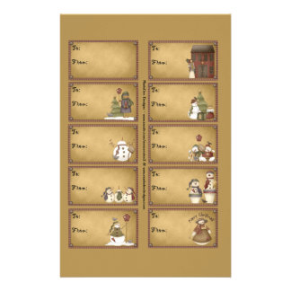 Snowman Winter Gift Tags on a Sheet - D2