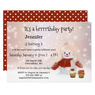 Kids winter birthday party invitations design blog snowman winter girl birthday party invitation filmwisefo Image collections