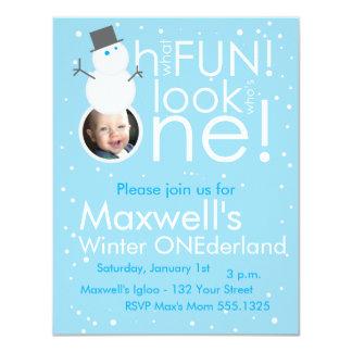 "Snowman Winter ONEderland 1st Birthday Invitations 4.25"" X 5.5"" Invitation Card"