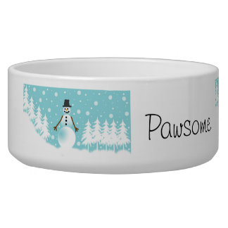 Snowman Winter Scene Bowl