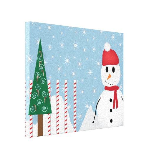 Snowman Winter Scene Canvas