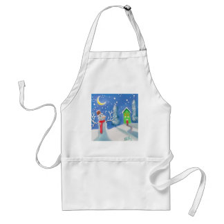 Snowman winter scene folk art painting apron