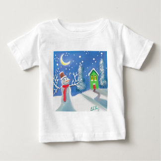 Snowman winter scene folk art painting baby T-Shirt