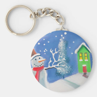 Snowman winter scene folk art painting basic round button keychain