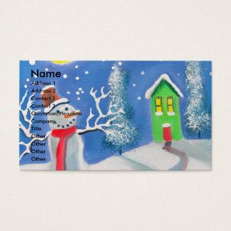 Snowman winter scene folk art painting business card