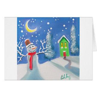 Snowman winter scene folk art painting card