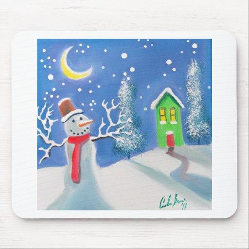 Snowman winter scene folk art painting mouse pad