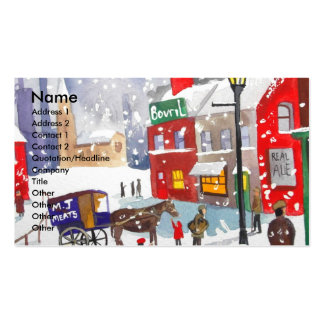 Snowman winter scene folk art painting nostalgic business card