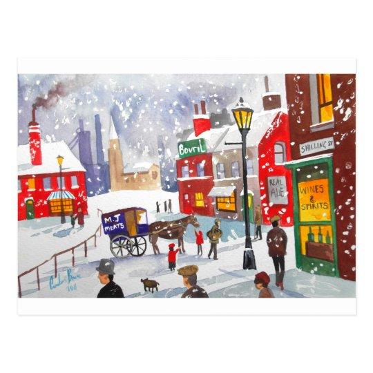 Snowman winter scene folk art painting nostalgic postcard