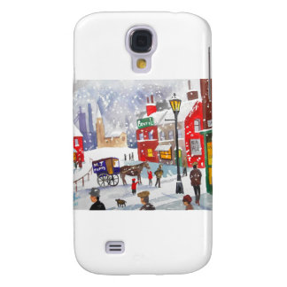 Snowman winter scene folk art painting nostalgic samsung galaxy s4 cover