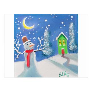 Snowman winter scene folk art painting postcards