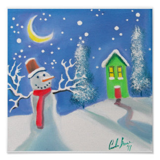 Snowman winter scene folk art painting posters