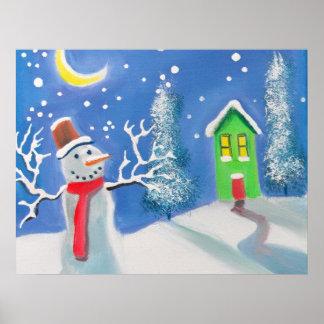 Snowman winter scene folk art painting print