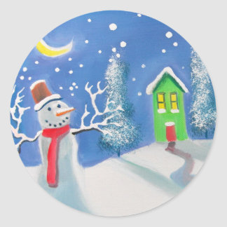 Snowman winter scene folk art painting sticker