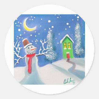 Snowman winter scene folk art painting stickers