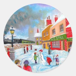 Snowman winter scene folk art painting train classic round sticker