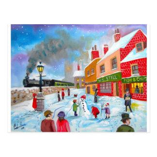 Snowman winter scene folk art painting train postcard