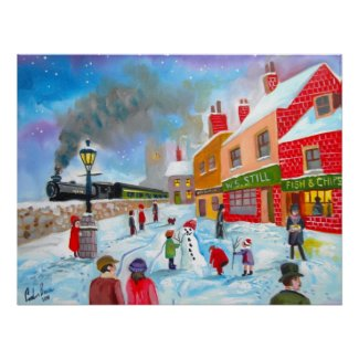Snowman winter scene folk art painting train print