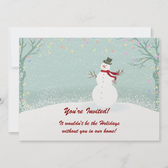 Snowman Winter Scene Holiday Party Invitations